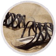 Sand Shoes I Round Beach Towel