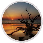 Sand Surf And Driftwood Round Beach Towel