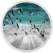Sandestin Seagulls C Round Beach Towel