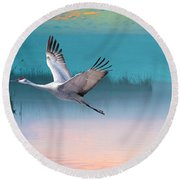 Sandhill Crane And Misty Marshes Round Beach Towel
