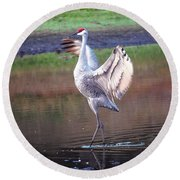 Sandhill Crane Painted Round Beach Towel