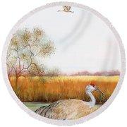 Sandhill Cranes-jp3160 Round Beach Towel