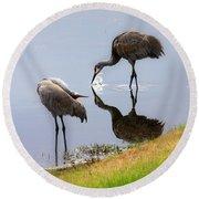 Sandhill Cranes Reflection On Pond Round Beach Towel