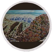 Looking Down From The Sandia Mountains Round Beach Towel