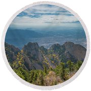 Sandia Crest In Fall Round Beach Towel
