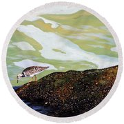 Sandpiper At Ponce Inlet Round Beach Towel