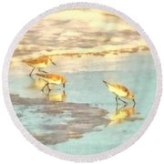 Sandpipers Along The Shoreline Round Beach Towel