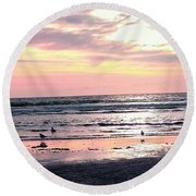 Sandpipers At Old Silver  Round Beach Towel
