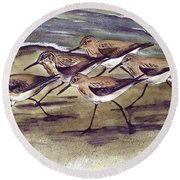 Sandpipers Round Beach Towel