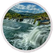 Sandstone Falls New River  Round Beach Towel