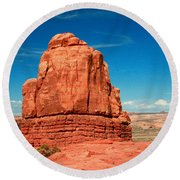 Sandstone Monolith, Courthouse Towers, Arches National Park Round Beach Towel