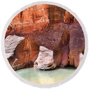 Sandstone Toes In The Virgin River Round Beach Towel