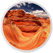 Sandstone Waves And Clouds Round Beach Towel