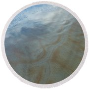 Sandy Beach Abstract Round Beach Towel by Carolyn Marshall