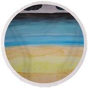 Sandy Beach And Cloudy Sky Round Beach Towel