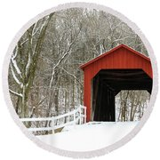 Sandy Creek Covered Bridge Round Beach Towel
