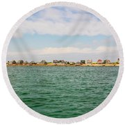 Sandy Neck Lighthouse And Cottages, Barnstable, Massachusetts, U.s.a. Round Beach Towel