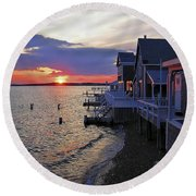 Sandy Neck Sunset At The Cottages Round Beach Towel