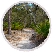 Sandy Path In Hunting Island South Carolina Round Beach Towel