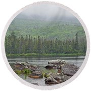 Sandy Stream Pond Round Beach Towel