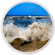 Sandy Surf Splash Round Beach Towel