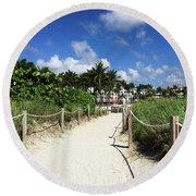 Sandy Trail Miami Florida Round Beach Towel
