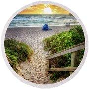 Sandy Walk Down To The Beach Round Beach Towel