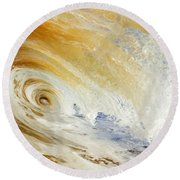 Sandy Wave Crashing Round Beach Towel