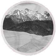 Sangre De Cristo Mountains And The Great Sand Dunes Bw V Round Beach Towel by James BO  Insogna
