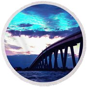 Sanibel Causeway Bridge Round Beach Towel