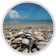 Sanibel Island Sea Shell Fort Myers Florida Broken Shells Round Beach Towel