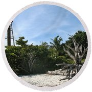 Sanibel Light And Driftwood Round Beach Towel