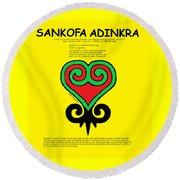 Sankofa Adinkra Round Beach Towel