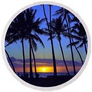 Sans Souci Sunset Waikiki Round Beach Towel