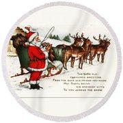 Santa And His Reindeer Greetings Merry Christmas Round Beach Towel