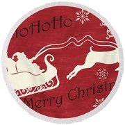 Santa And Reindeer Sleigh Round Beach Towel