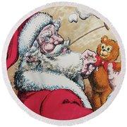 Santa And Teddy Round Beach Towel