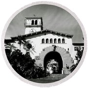 Santa Barbara Courthouse Black And White-by Linda Woods Round Beach Towel