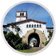 Santa Barbara Courthouse -by Linda Woods Round Beach Towel