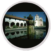 Santa Barbara Mission Round Beach Towel
