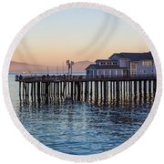 Santa Barbara Wharf At Sunset Round Beach Towel