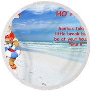 Santa Christmas Greeting Card Round Beach Towel