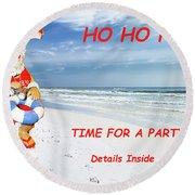 Santa Christmas Party Invitation Round Beach Towel