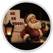 Santa Claus Christmas Card Round Beach Towel