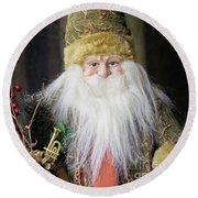 Santa Claus Doll In Green Suit With Forest Background. Round Beach Towel