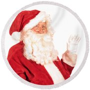 Santa Claus Waving Hand Round Beach Towel