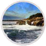 Santa Cruz Coastline Round Beach Towel