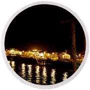 Santa Cruz Pier At Night Round Beach Towel
