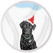 Santa Dog In The Snow Round Beach Towel