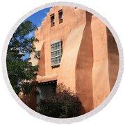 Santa Fe - Adobe Church Round Beach Towel